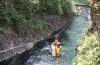 West Coast Wild Ziplining.  Stop here on your way to Tofino.  It's fun, informative, and scenic.  Located about an hour away from Tofino.