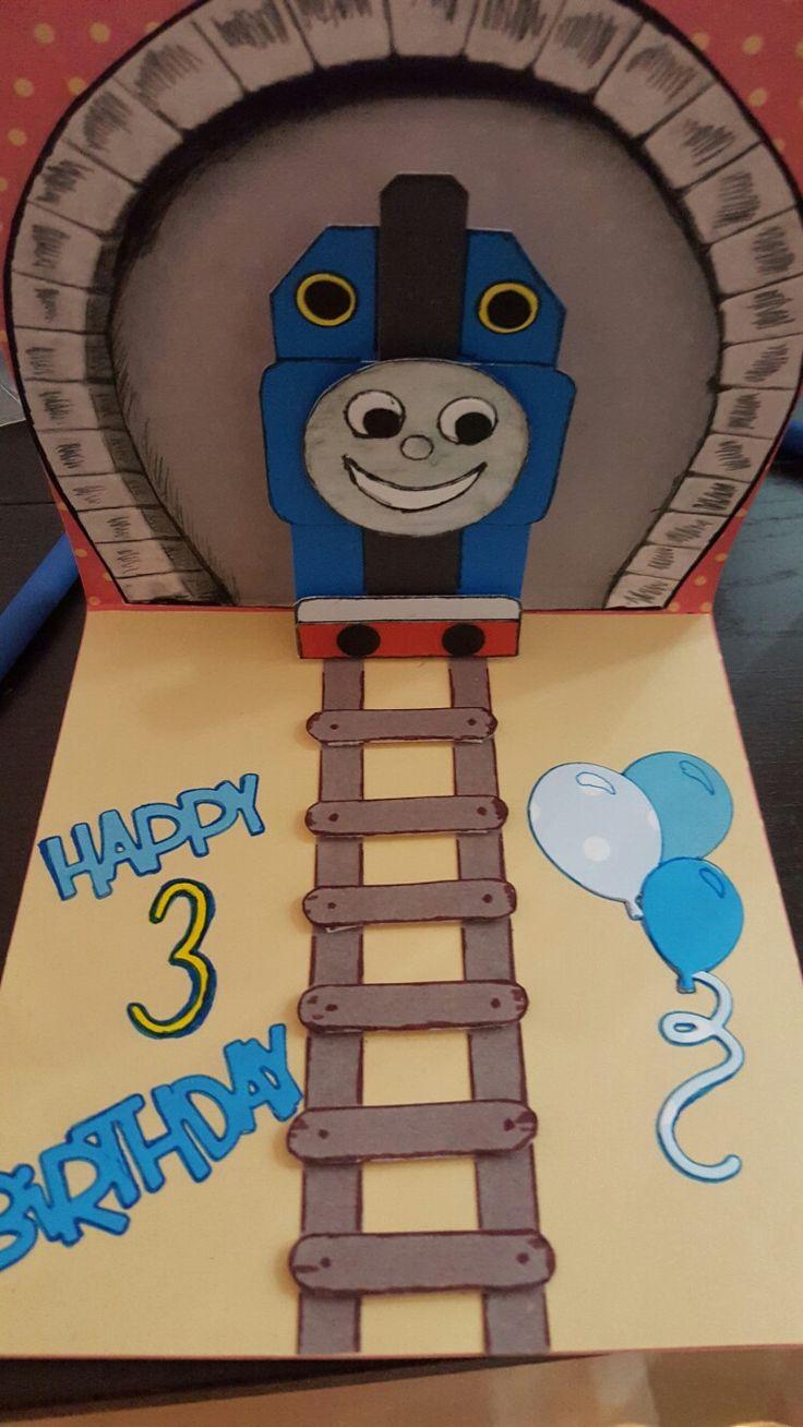 Biglietto di auguri trenino thomas fatto per il compleanno del mio nipotino Vittorio