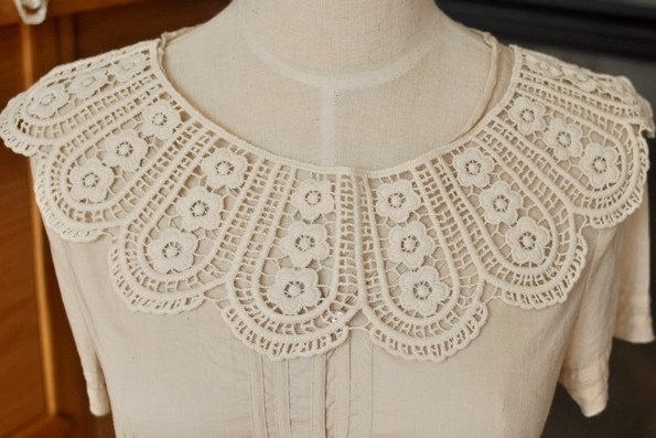 Ivory Altered Clothing, Sewing, Embellishing Embroidered  Lace Applique 7.48'' height 1 pc