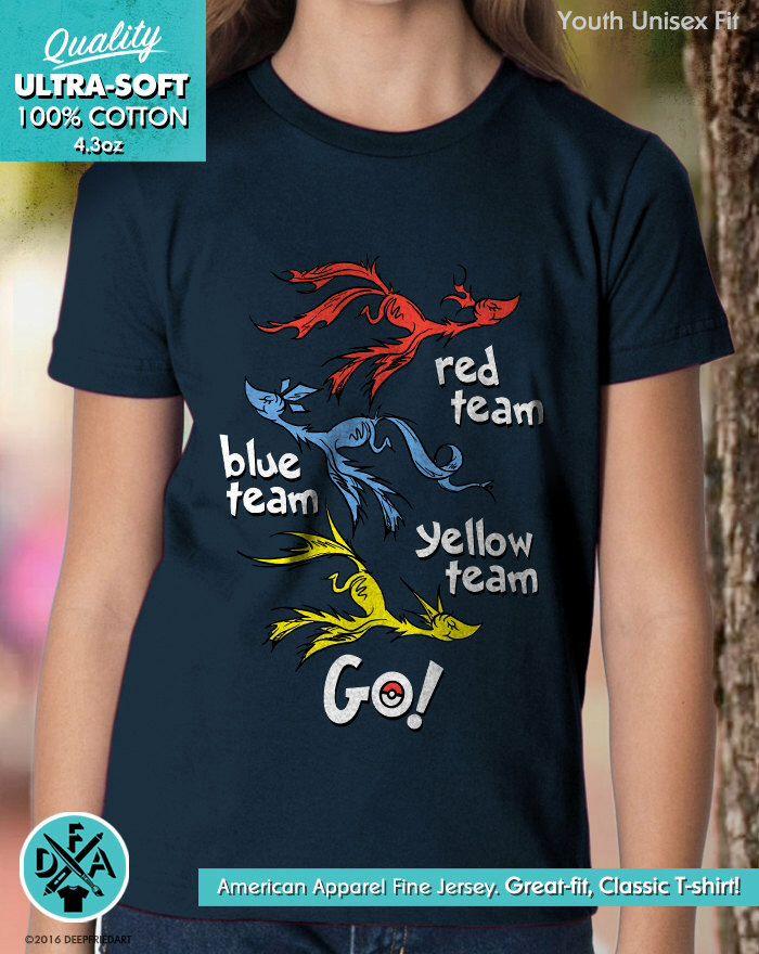 New Pokemon Go Shirt Inspired Seuss Mash Up Red Team Blue Team Yellow Team Youth Kids Shirt and Toddler Shirt Sizes Team Mystic Instinct by DeepFriedArt on Etsy https://www.etsy.com/listing/460282820/new-pokemon-go-shirt-inspired-seuss-mash