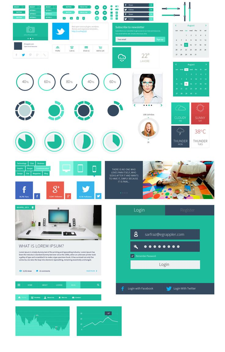 Flatter - user interface kit Royalty free Web\UI Elements on Zizaza.com