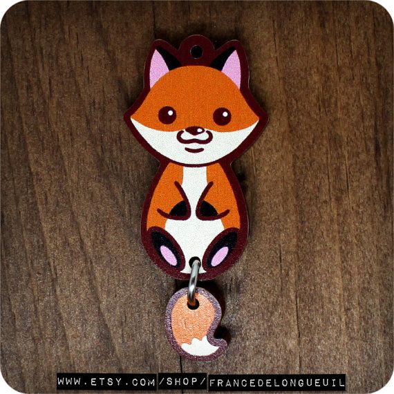 Cute charm fox printed on plywood.