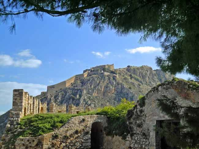 View of #Palamidi castle, #Nafplio's major landmark with the legendary 999 steps to the top