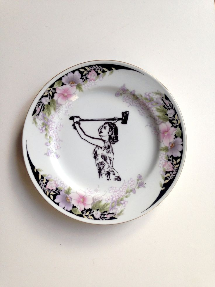 'Domestic Goddess' thrifted Vintage Plate with altered art for your gallery wall