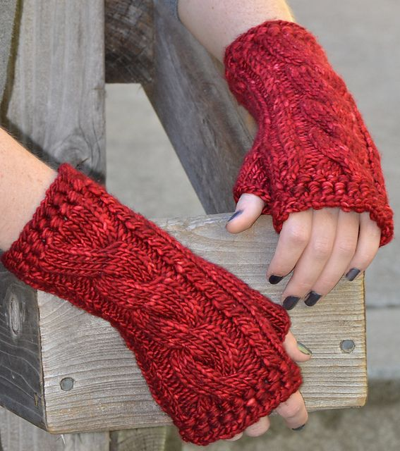 Ruby and Cables gloves pattern by Faina Goberstein. malabrigo Mecha in Cereza colorway.