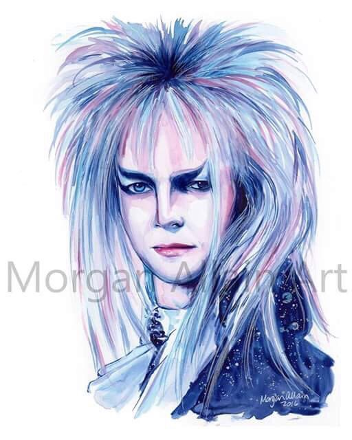 A personal favorite from my Etsy shop https://www.etsy.com/listing/489684394/jareth-goblin-king-labyrinth-art-print
