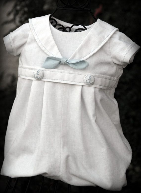BOY Blessing / Christening Outfit SAILOR NAUTICAL by knotsewshabby, $60.00