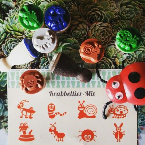 Little critters stamp set, perfect for rainy day craft! Contains 8 Ministempel designs: #beetle #earthworm #snail #ladybird #snake #ant #spider #bug  Available from www.annieponline.com