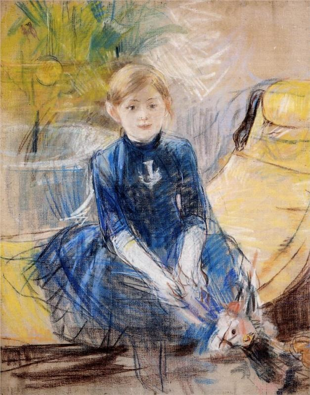 """""""Little Girl with a Blue Jersey"""", 1886, Berthe Morisot's portrait of her daughter and favorite model, Julie Manet."""