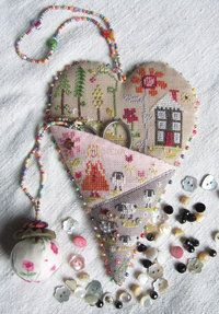 Heart|.Scissors Keeper, Coeur Crazy, Needlework, Pin Cushions, Scissors Fobs, Pincushions Needlecase, Crosses Stitches, Embroidered Heart, Needle Cases