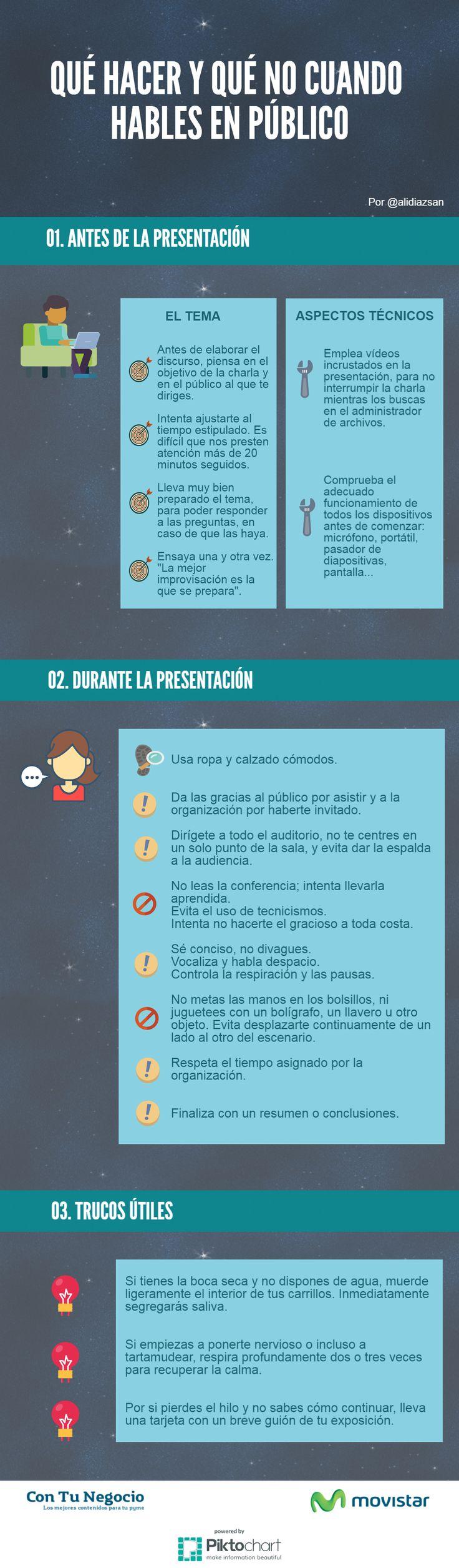 Qué hacer y qué no cuando hables en público #infografia