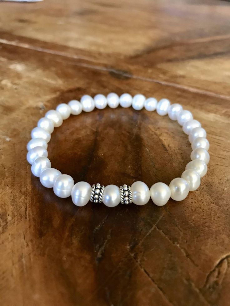 A personal favorite from my Etsy shop https://www.etsy.com/listing/565528239/white-pearl-bracelet-white-freshwater