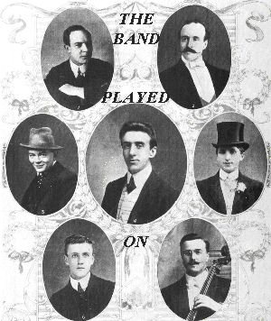 """THE FACT THAT THEY CONTINUED TO PLAY TILL THE VERY END IS AMAZING. TO DIE WITH SUCH BRAVERY WHILE DOING WHAT YOU WERE CALLED FOR. RESPECT! FROM: Top 10 Facts About the Titanic Shipwreck - TotallyTop10.com """"A violinist named Wallace Hartley was the leader of the band, and after the impact, he assembled his band on deck and they played for hours. They played waltzes for the most part. All of them died in the sinking of the Titanic."""""""