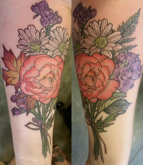 Floral bouquet by alice kendall at her shop wonderland for Tattoo shops in portland oregon