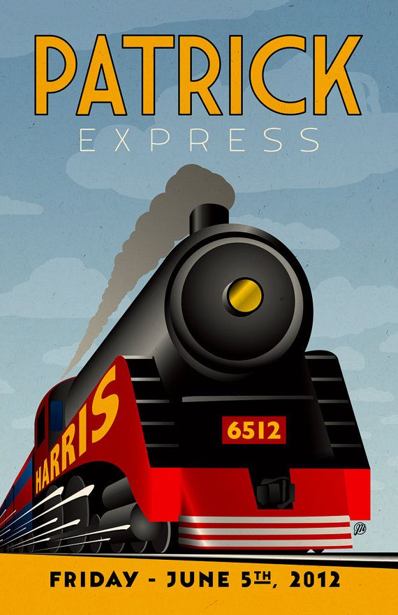 Custom Retro Style Train Poster 11x17 by MeltonGraphics on Etsy