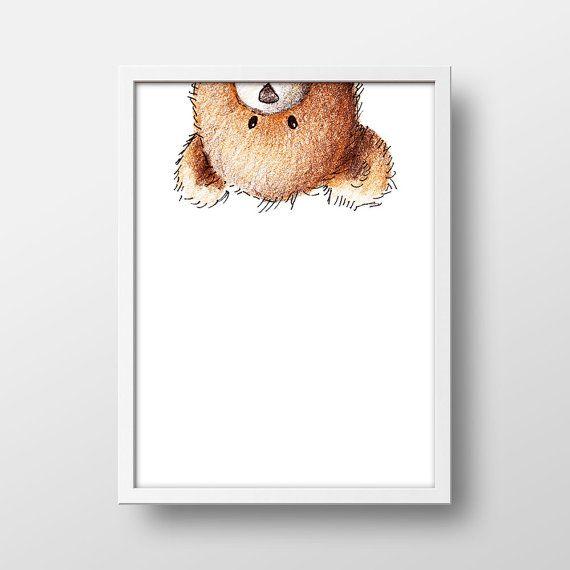 Peekaboo Teddy Bear Art Print  Teddy Bear Nursery by BlanchardBits