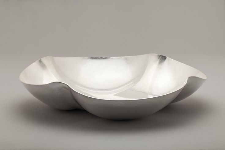 """JACK DA SILVA TANGENTS 9  Functional bowl. Sterling silver, raised with multiple centers.  2.5"""" x 11.5"""" x 11.5"""""""