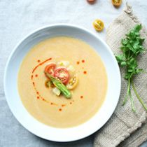Squash Soup with squash blossoms, vines, cherry tomatoes, chile oil ...