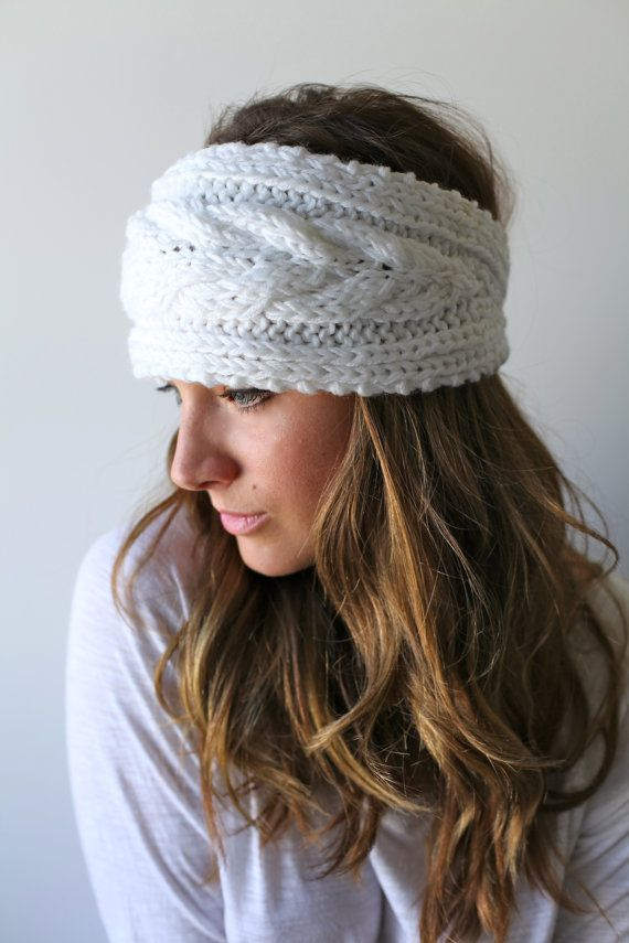 WHITE KNIT HEADBAND, headband, ear warmer, head muff, braided cable, earmuff, winter white, white knit headband