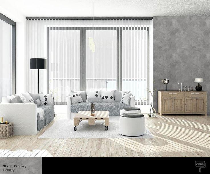 Stiuk Perłowy w salonie. Ten odcień szarości, który podkreśla szlachetny charakter drewna, a surowa struktura znakomicie kontrastuje z nieskazitelną wylewką żywiczną lub bielą sufitów.