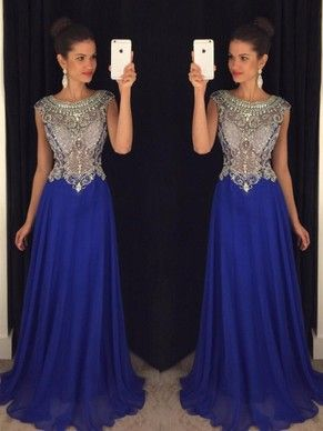 Royal Blue Scoop Neck Tulle Chiffon Sweep Train Beading Wholesale Prom Dresses #DGD020102321