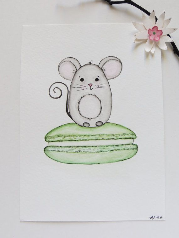 Watercolor painting, mouse and macaron, mouse painting, pistachio macaron art, nursery painting