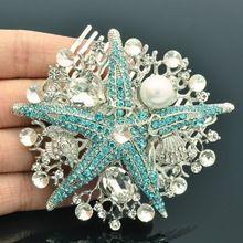 Acessórios grampos de cabelo peixe mar azul pérola de jóias strass cristal da dama de honra frete grátis 6412(China (Mainland))