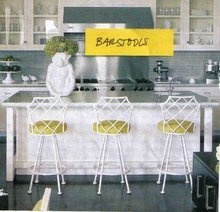 chippendale bar stools + yellow cushions