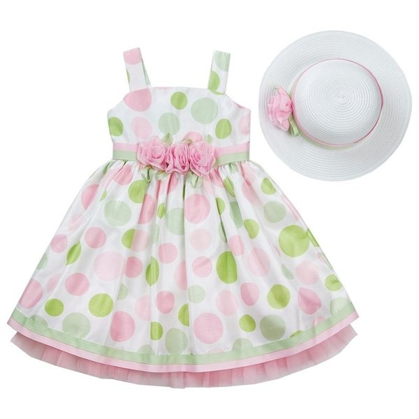 487b9a2fd Flouncy and Fun Easter Dresses  Sleeveless Dotted Shantung Dress with Hat  from Burlington Coat Factory.