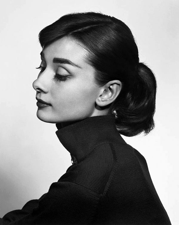 This is a beautiful portrait taken of Audrey Hepburn by a great portrait photographer, Yousuf Karsh, where he breaks many of the rules of portraiture in the position of her head.