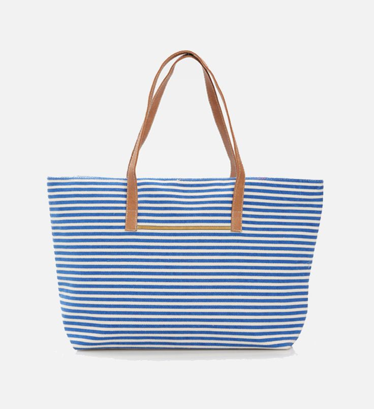 Strippy Summer Bag by Le Sac. Strippy Summer No beach vacation is complete without a summer tote bag. This bag has nautical-inspired stripes pattern with faux leather handles. Cool tote bag to carry your thing everywhere. http://www.zocko.com/z/JG0j9