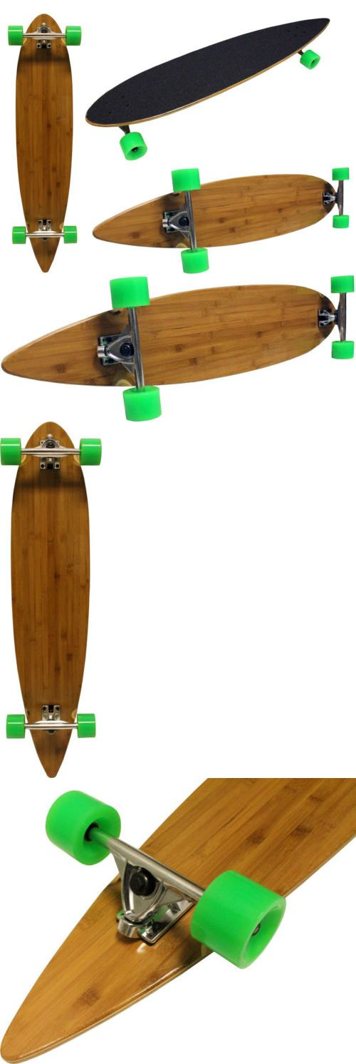 Other Skate- and Longboarding 16265: 9X43 Bamboo Longboard W/ 180Mm Aluminum Trucks + 70Mm Neon Green Wheels And Abec 7 BUY IT NOW ONLY: $59.89