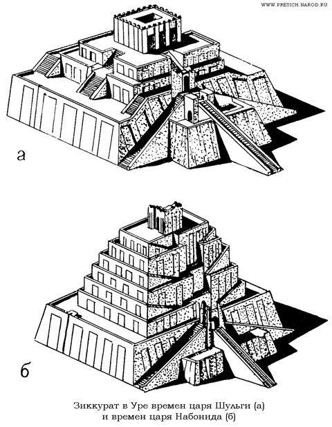 мавзолей времен шульги (а), ниобида (б)