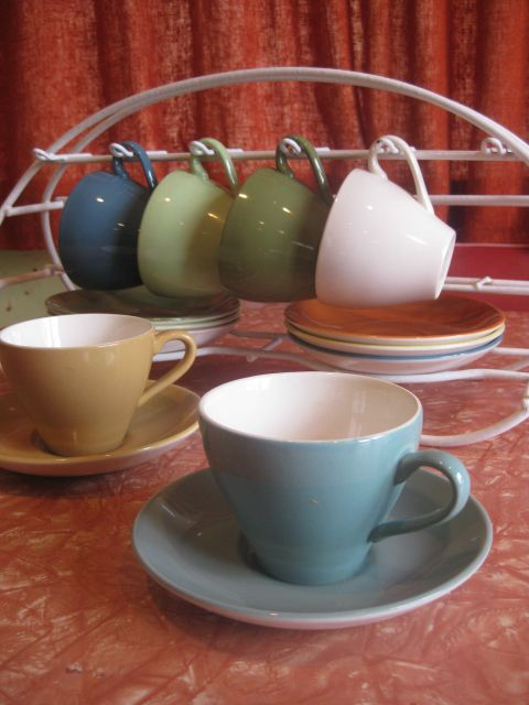 Crown Lynn Coloured Cups and Saucers