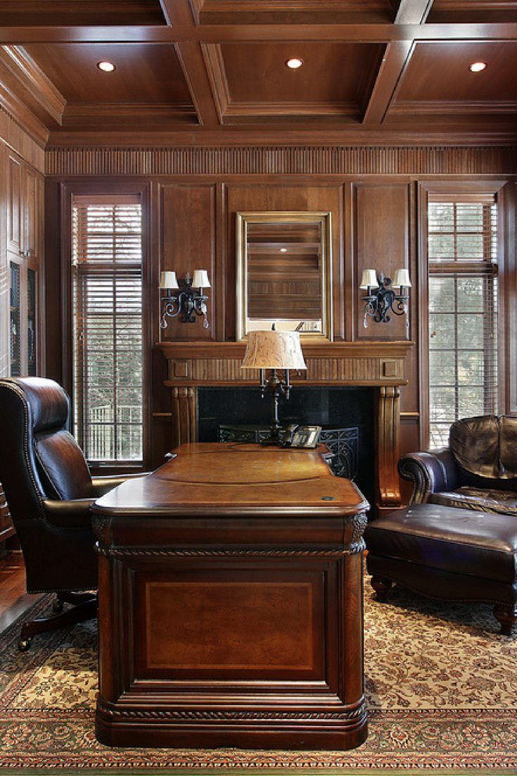 Executive Style Home Office With Wood Coffered Ceiling.
