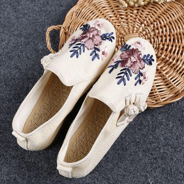 Bordado de la vendimia de Las Mujeres Pisos Danza Dinastía de han de Lona Floral de Lino Nacional Cómodo Bailarina Solos Zapatos Viejos de Pekín