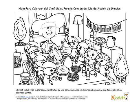 Página Para Colorear Del Chef Solus De La Cena Familiar de Acción de Gracias