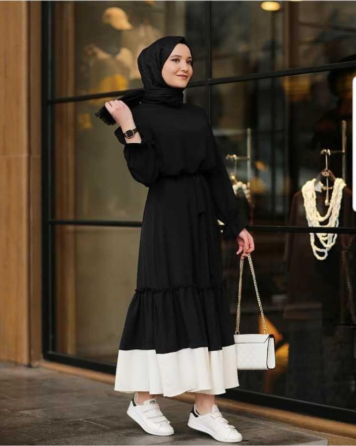 Firfir Detayli Garnili Tesettur Elbise Siyah Guvenilir Alisveris Islami Giyim Elbise Giyim