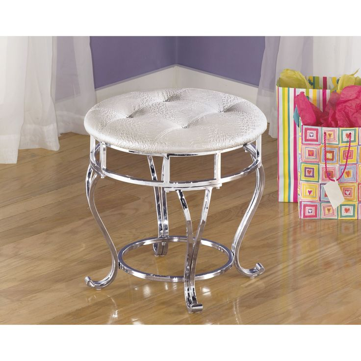 Signature Designs By Ashley Zarollina Silver Upholstered Youth Vanity Stool    Overstock™ Shopping   Great Deals On Signature Design By Ashley Kidsu0027  Chairs
