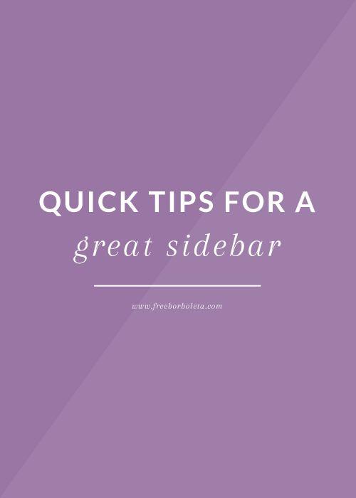 Blog Sidebar Tips - freeborboleta