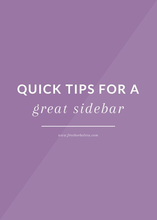Blog Sidebar Tips - freeborboleta