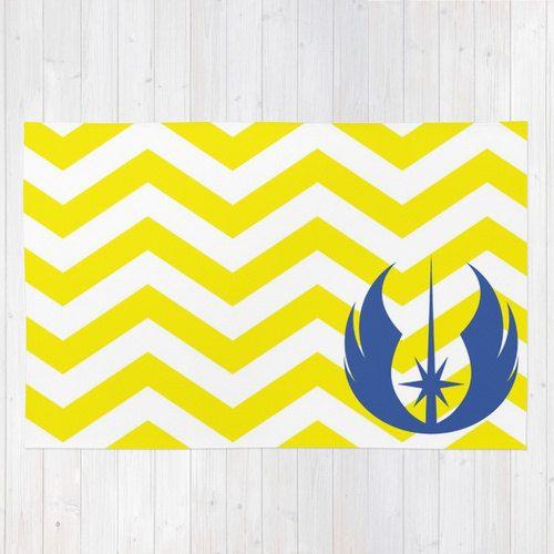 Star Wars Rug, Jedi Order Throw Rug, Blue Jedi Order Symbol Over Yellow Chevrons Rug, Star Wars Nursery Rug, Star Wars Playroom Rug