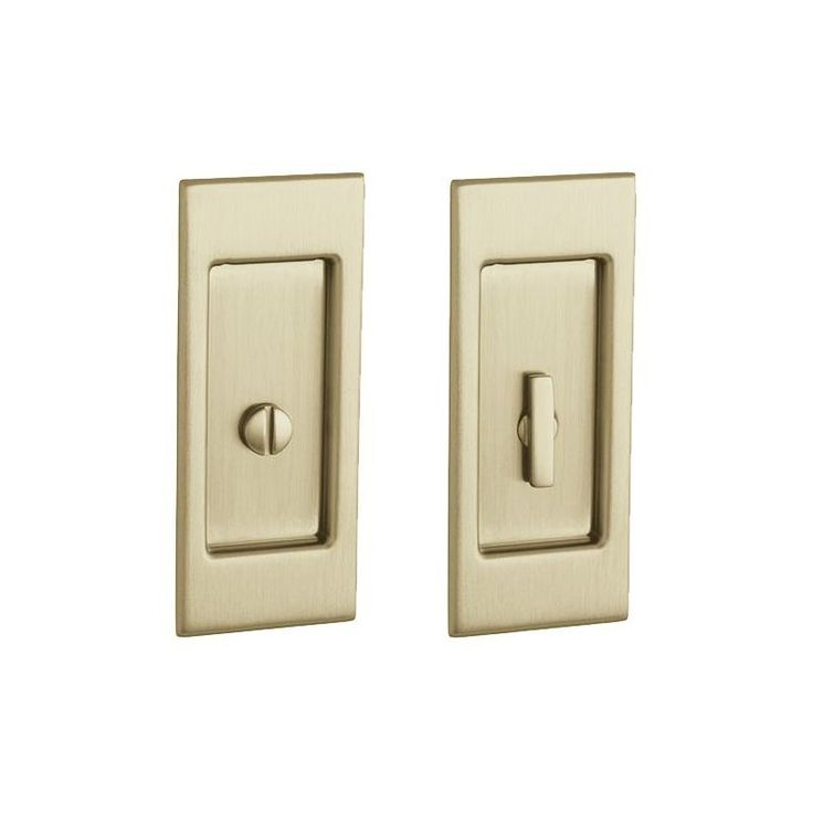 Baldwin PD006.PRIV Santa Monica Privacy Pocket Door Set with Door Pull from the Lacquered Vintage Brass Pocket Door Lock Privacy