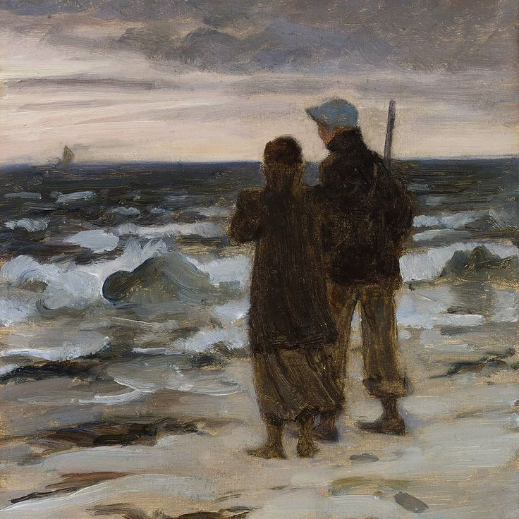 """Woooo ... Is that a new and exciting year that we can spot in the horizon there? """"A young couple by night at Skagen beach"""" by Valdemar Irminger 1900. Artist Valdemar Irminger was born #onthisday 167 years ago - as a painting professor he taught amongst others a young Karen Blixen and Helga Ancher. Especially the latter became very inspired by his romantic style which often featured animals as the main motif #valdemarirminger #skagensmuseum"""