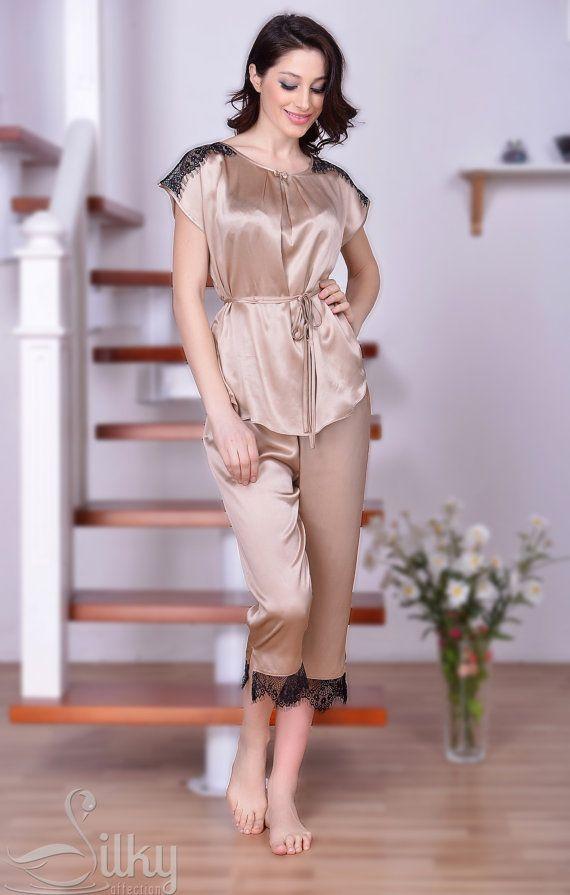 Champagne silk Pajamas, black lace, Silk charmeuse Nighties, Silk nightwear, Silk Pajama Set