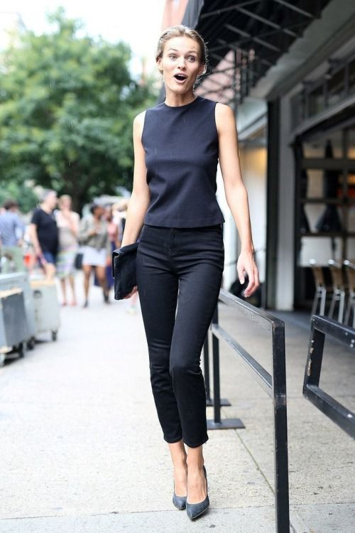 black shell, black cropped trousers