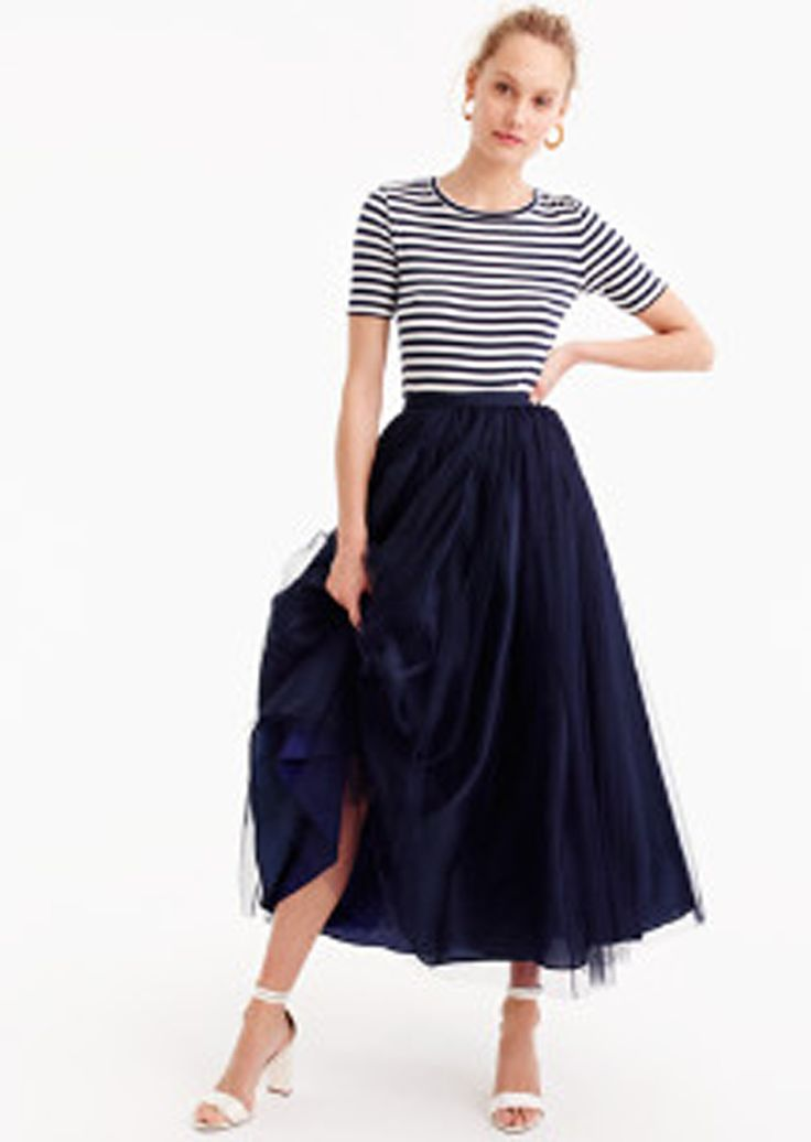 Tulle midi skirt.....a little hesitant to wear horizontal stripes, but I love the look