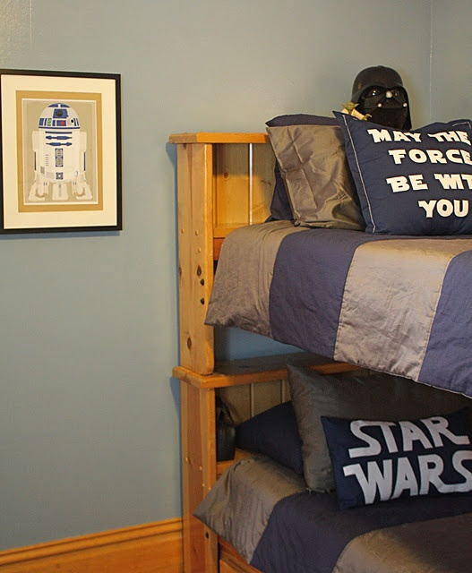 Homemade Star Wars bedroom, So much classier than store-bought, yet still nerdy enough to please any teenage boy.