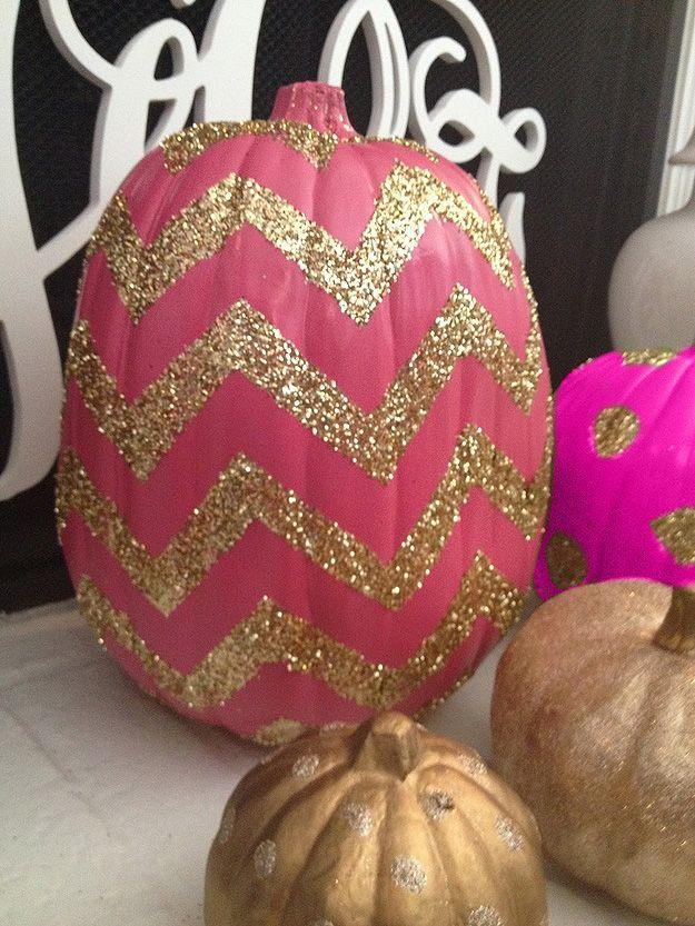 Pink & glitter chevron pumpkin. Halloween 'Pink-O-Ween' Party.