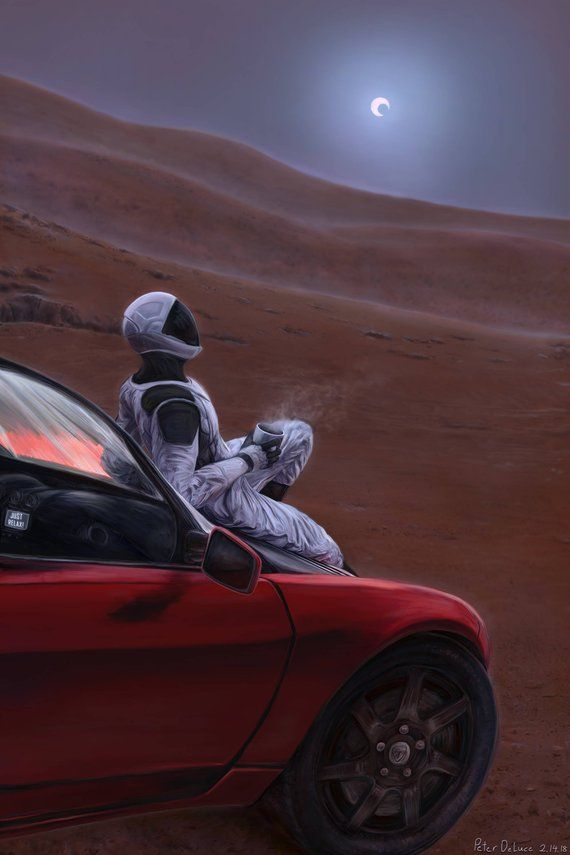 This Item Is Unavailable Etsy Planet Poster Elon Musk Red Car